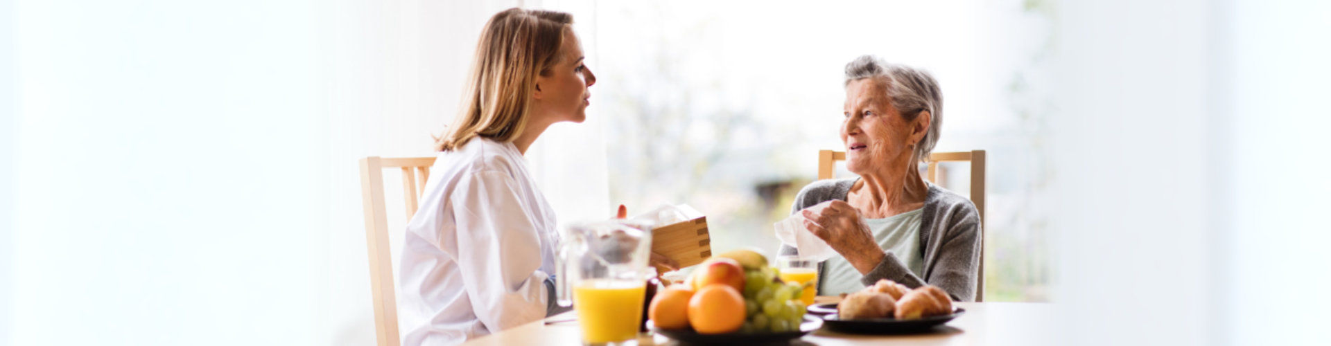 caregiver with elder woman